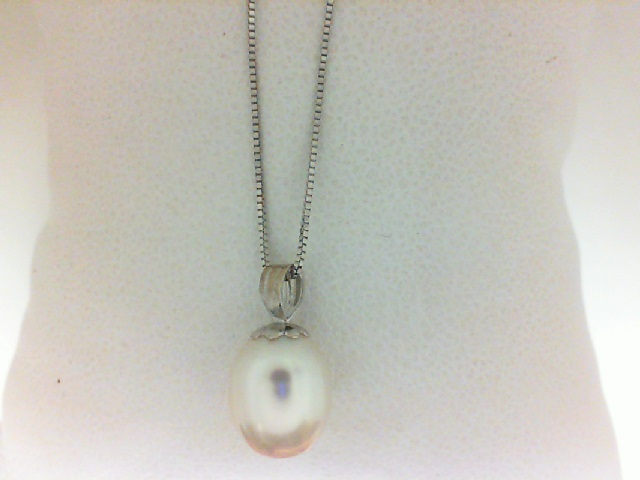 14 Karat White Gold Pendant With One 11.00X9.00mm Freshwater Pearl