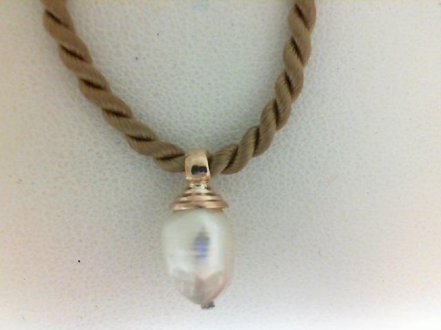 Yellow Gold 14 Karat freshwater pearl  Pendant on silk cord 16 inch