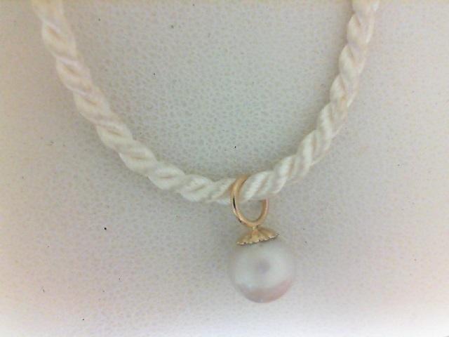 Yellow Gold 14 Karat freshwater 7-7.5 mm pearl  Pendant on silk cord 16 inch
