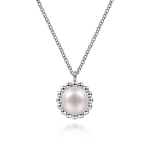 Gabriel & Co: Sterling Silver Round Pearl Pendant Necklace with Beaded Frame 17.5