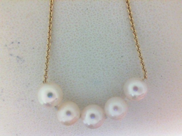 Yellow Gold 14 Karat 5-5.5 mm Pearl necklace  18 Inch
