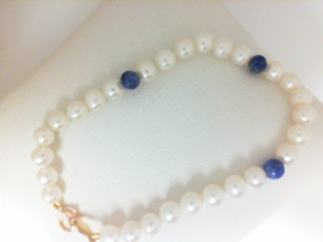 14 Karat Yellow Gold  freshwater pearl Bracelet with 3 Lapis Beads 6 Inch