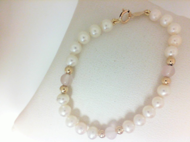 14 Karat Yellow Gold Freshwater Pearl Bracelet With Pink Quartz 5.5 Inch
