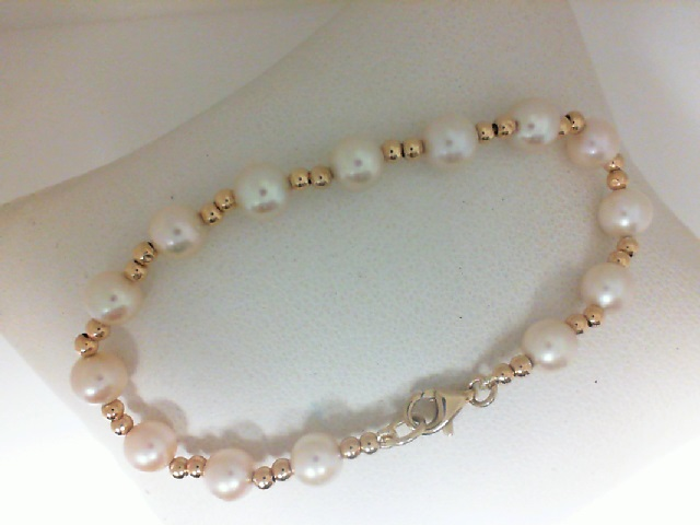 14 Karat Yellow Gold Beads & Pearl Bracelet   6 inch