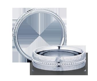 Verragio: 14 Karat White Gold 6mm Hammered Engraved Wedding Band Size 10