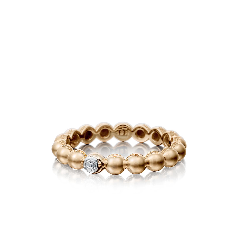 Tacori: 18 Karat  Rose Gold 3mm Ring Size 7 Name: Sonoma Mist Beaded Dew Drop Ring