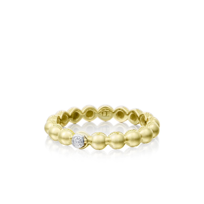 Tacori: 18 Karat Yellow Gold 3mm Ring Size 7  Name: Sonoma Mist Beaded Dew Drop Ring