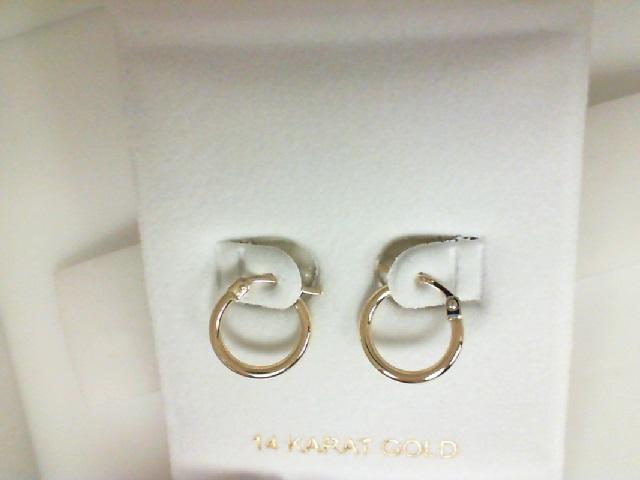 14 Karat Yellow Gold Milgrain Small 15mm Hoop Earrings