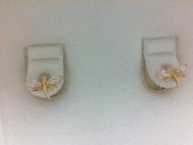 14 Karat Yellow Gold  Cubic Zirconia Dragonfly Stud Earrings