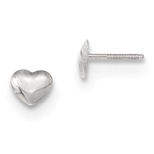 14 Karat White Gold Heart Stud Earrings With Screw Back