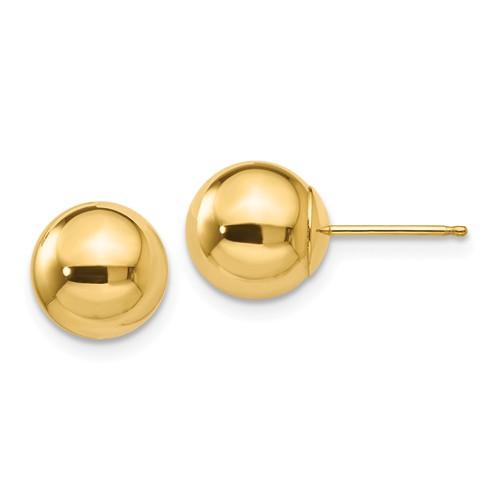 14 Karat Yellow Gold 8.0 mm Ball Stud Earrings