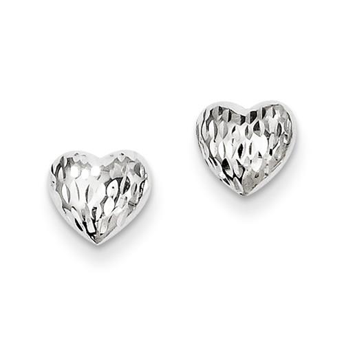 14 Karat White Gold Diamond Cut Puffed Heart Stud Earrings
