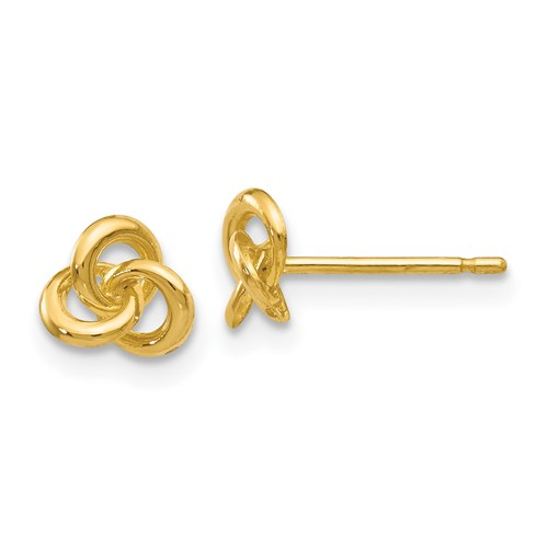 14 Karat Yellow Gold Trinity Knot Stud Earrings