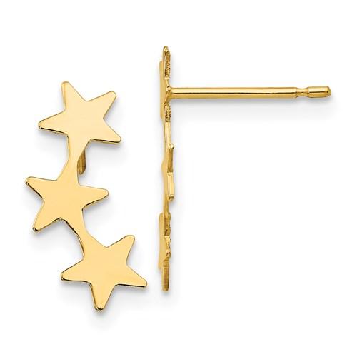 14 Karat Yellow Gold Solid Three Star Stud Earrings     Length of Item:15 mm       Width of Item:6 mm