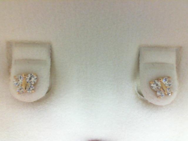 14 Karat Yellow Gold Stud Earrings Butterfly Swarokowski Crystal
