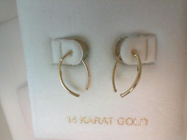 14 Karat Yellow Gold Curved Stick Dangle Earrings
