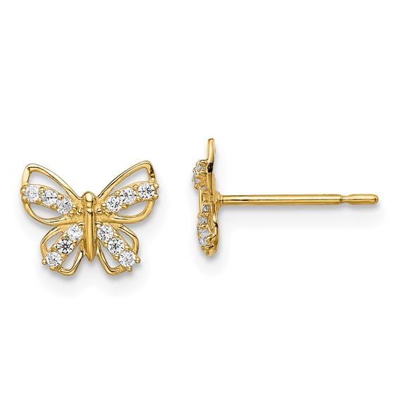14 Karat Yellow Gold Madi K Butterfly With Cubic Zirconia Stud Earrings
