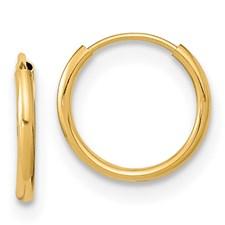 Yellow Gold 14 Karat 14 mm endless hoop Earrings