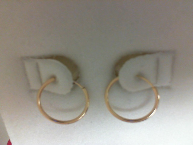 14 Karat Yellow Gold  single  Small Endless Hoop Earring