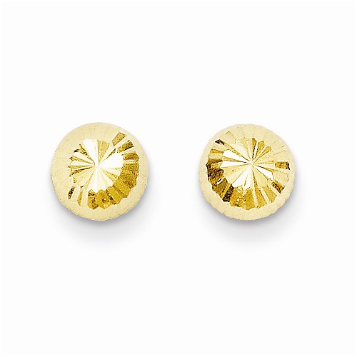 14 Karat Yellow Gold Diamond Cut Button Earrings   Diameter: 5mm
