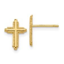 14 Karat Yellow Gold Cross Earrings