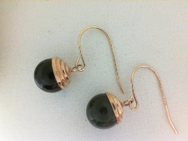 14 Karat Yellow Gold  Black Onyx Dangle Earrings