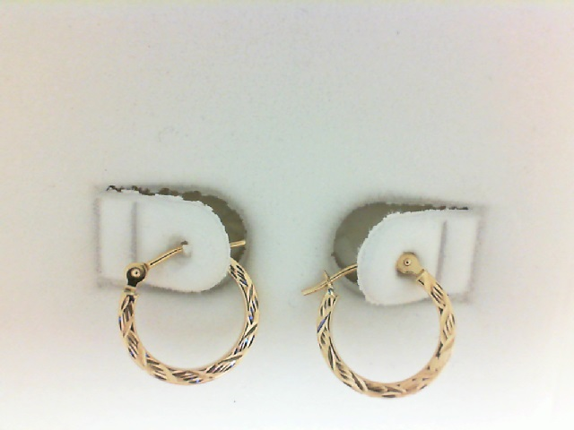 Yellow 14 Karat Small Hoop Earrings Diameter: 1.5X13MM Name: Diamond Cut Square
