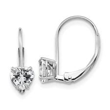 14 Karat White Gold  Heart Cubic Zirconia leverback Earrings