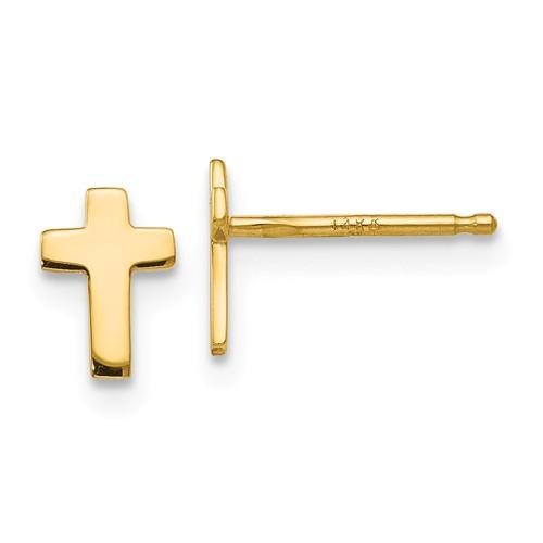 14 Karat Yellow Gold Cross Stud Earrings 7x5mm