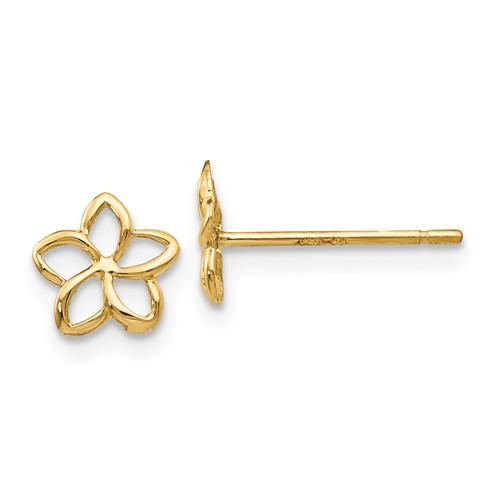 14 Karat Yellow Gold Open Plumeria Flower Stud Earrings 7mm