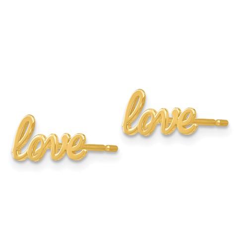 14 Karat Yellow Gold  Love  Earrings