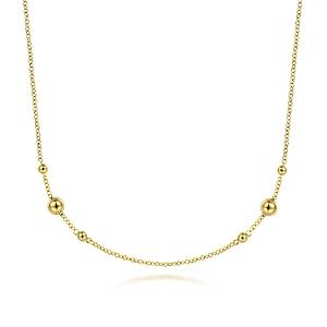 Gabriel & Co 14 karat yellow gold bujakan bead necklace  17.5 inch