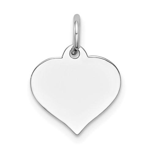 14 Karat White Gold Heart Disc Charm
