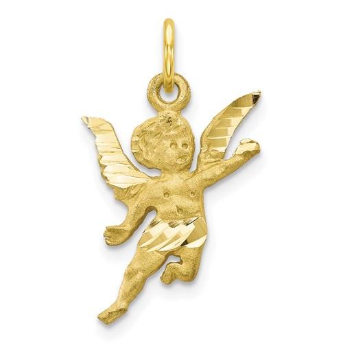 10 Karat Yellow Gold Solid Satin Angel Charm