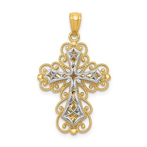 14 Karat Two-Tone Gold Polished 2 Level Filigree Cross Pendant 29.5x18mm