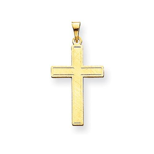 14 Karat Yellow Gold Florentine Satin Cross Charm