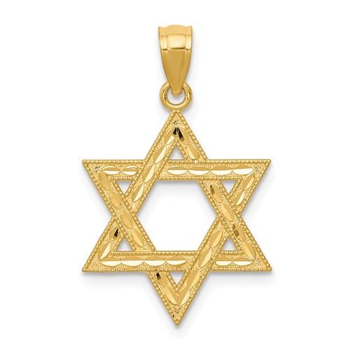 14 Karat Yellow Gold Diamond- Cut Solid Star Of David Charm 20.55x15.88mm