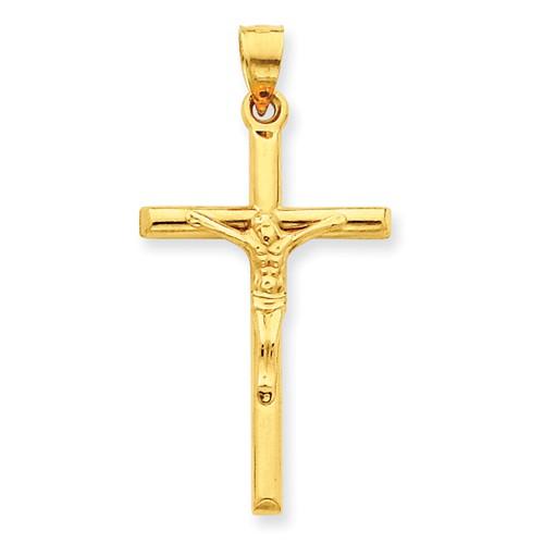14 Karat Yellow Gold  Hollow Crucifix 39x20mm