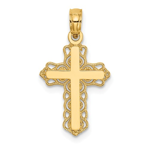 14 Karat Yellow Gold Solid Filigree Cross Pendant 23x12mm