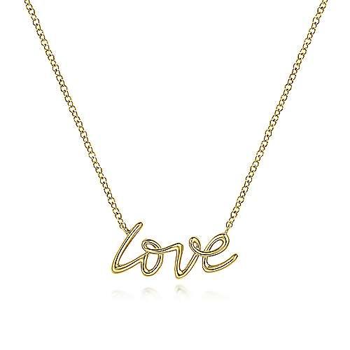 Gabriel & Co 14 Karat Yellow Gold Love Necklace 17.5