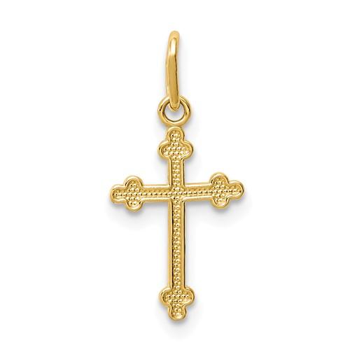 14 Karat Yellow Gold  Charm Budded Cross Charm 13.46x9.02mm