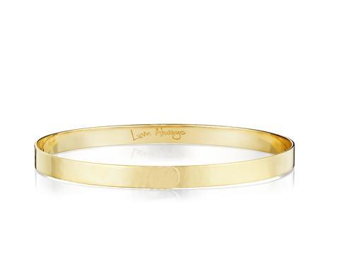 Phillip's House: 14 Karat Yellow Gold Hammered Affair/ Love Always Mini Bangle Bracelet Length: 8