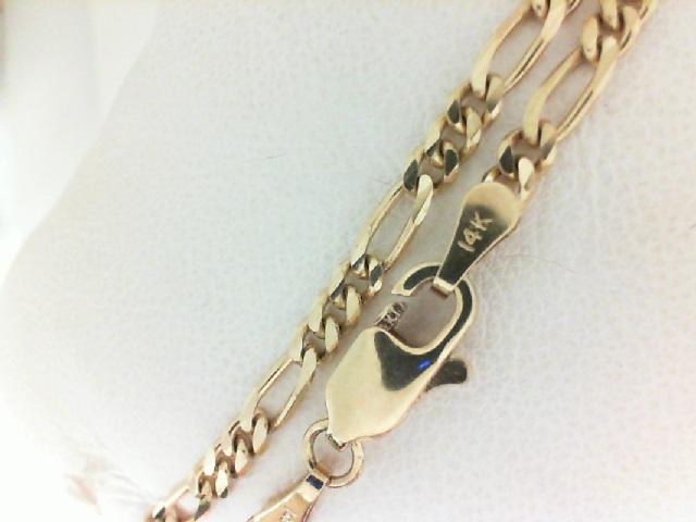 Yellow 14 Karat Bracelet Figaro Length: 7