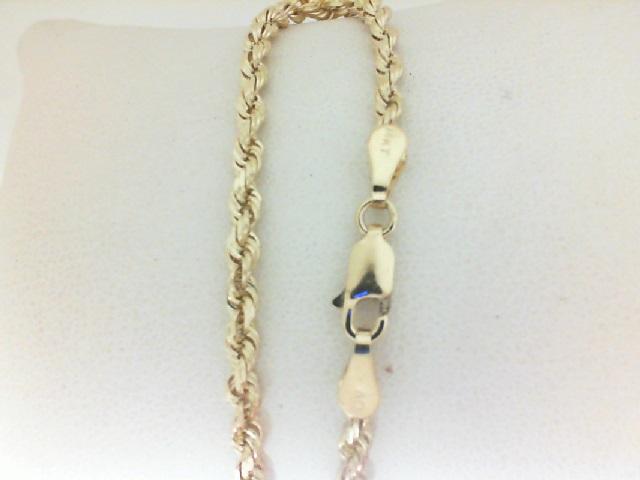 14 Karat Yellow Gold 3 mm Rope Bracelet  7.5