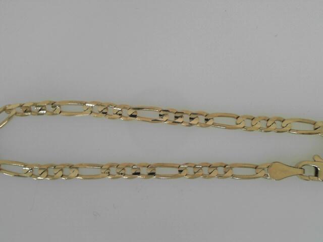 14 Karat Yellow Gold Figaro Bracelet 7.5