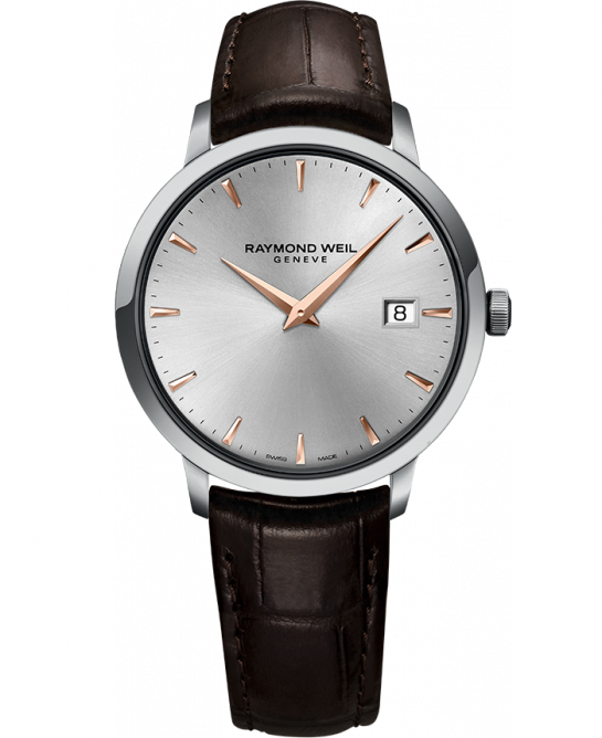 Raymond Weil: Stainless Steel Toccata Swiss Quartz Watch Silver Dial With Rose Accents Brown Leather Strap