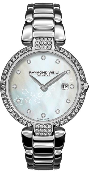 Raymond Weil: Stainless Steel 32mm Shine Swiss Quartz Watch With Diamond Bezel And Lugs 0.50cttw And Mother Of Pearl Diamond Dial