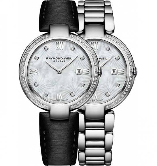 Raymond Weil: Stainless Steel 32mm Shine Swiss Quartz Watch With Diamond Bezel And Mother Of Pearl Diamond Dial  0.30cttw And additional Black Leather Strap
