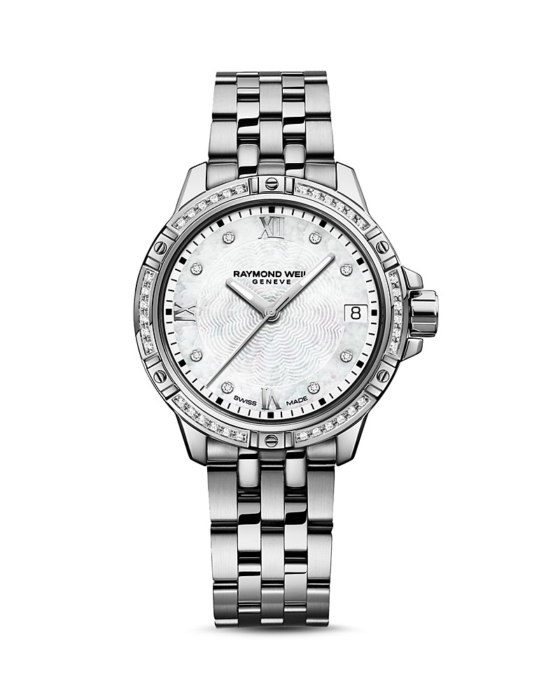 Raymond Weil Stainless Steel Tango 30mm Swiss Quartz Watch   With Diamond Bezel And Mother Of Pearl Dial 0.19Tw E/F Si1-2 Diamonds