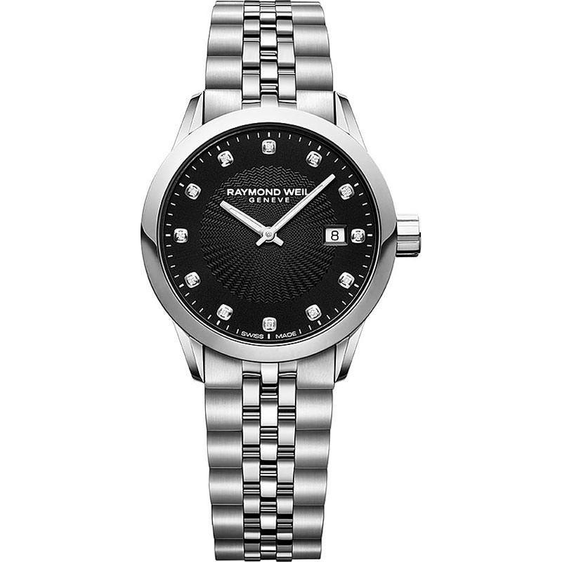 Raymond Weil: Stainless Steel Freelancer 29mm Swiss Quartz Watch With Black Diamond Dial